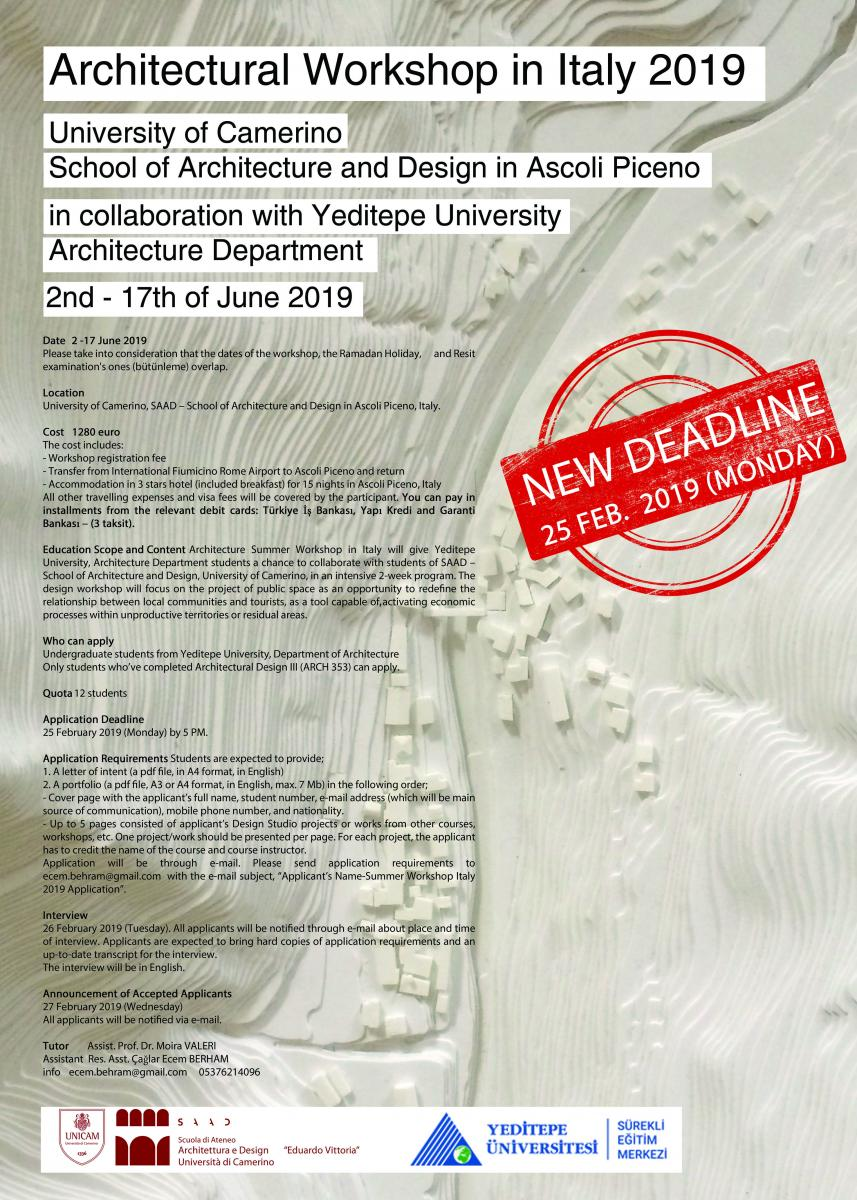 Workshop in Italy 2019 New Deadline | Faculty of Architecture